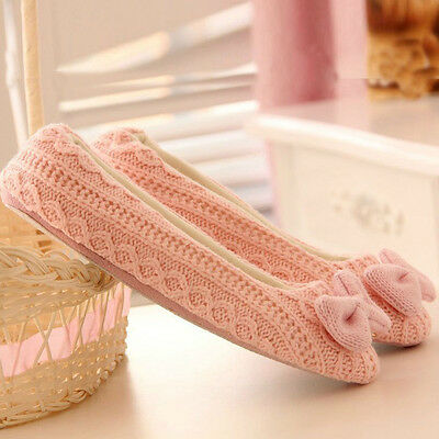 Ladies Women Warm Winter Bowknot Soft Indoor Home Slippers House Shoes Casual