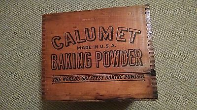 Calumet Baking Powder Wood Crate Wooden RARE Vintage Kitchen Antique Can Tin