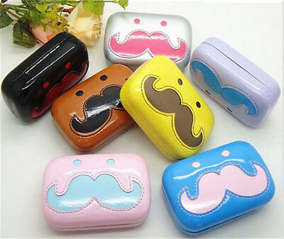 1pcs Moustache Pocket Contact Lens Case Travel Kit Easy Take Container Holder