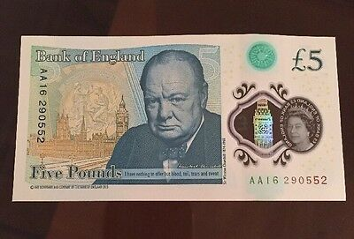 Brand New Polymer £5 Note AA16 Serial Number Rare