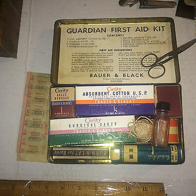 Early Guardian First-Aid Kit w original paper insert most contents Band Aid Tin