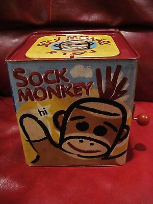 Schylling Sock Monkey in the Box Tin Toy Plays Pop Goes the Weasel