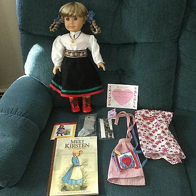 New American Girl Doll Kirsten Winter Outfit Red Boots Socks Necklace HB Book