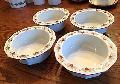 """4 Porsgrund Norway Hearts & Pines Multi-Sided 6"""" Soup Cereal Bowls~More Pcs Avl"""