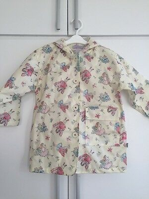 Gorgeous Girls Oilcloth Raincoat By Their Nibs London Cream With Fairies Size L