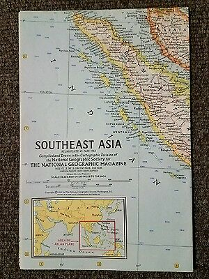 National Geographic Map Southeast Asia May 1961