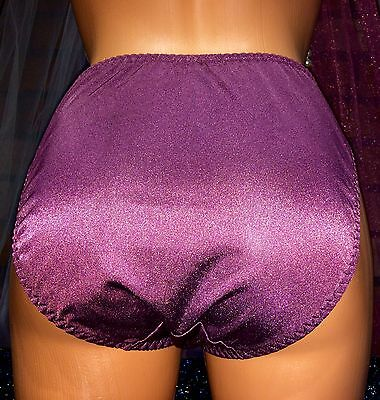 Vintage Purple Nylon Sheer Chiffon Lace Bikini Sissy Satin Panties Knicker M
