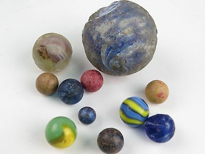 Lot of Antique Vintage Marbles Onion Skin Clay