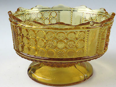 Antique Vintage Amber Glass Pressed Pattern Footed Compote Bowl Dish Nut Candy