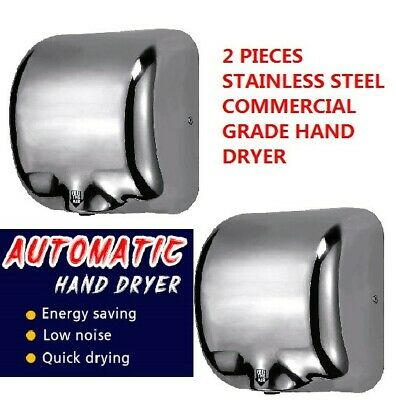 "2 X Heavy Duty Commercial High Speed Electric Hand Dryer ""Storm"" Stainless Steel"