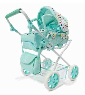 NEW Deluxe Baby Doll Pram Stroller + Nappy bag  and Storage Basket - Foldable