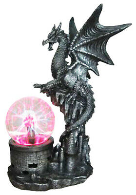 DRAGON POWER   Dragon with Electric TESLA PLASMA BALL Lamp  Statue H13.5''