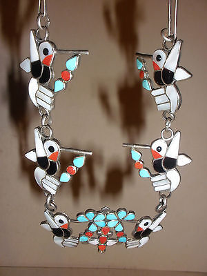 Vintage Zuni sterling silver Turquoise coral Hummingbirds Necklace E+D Qualo