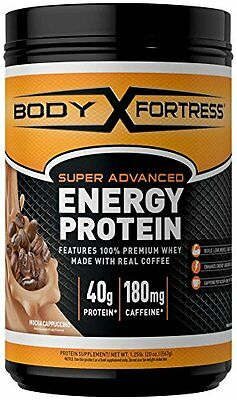 Body Fortress Energy Protein Powder, Mocha Cappuccino, 1.25 Pound