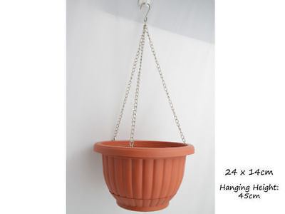 12 hanging garden plant pot diameter 24cm 14cm height terracotta bulk wholesale