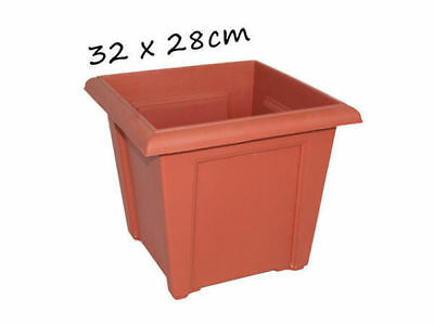 12 garden plant pot square 32cm by 28cm terracotta bulk wholesale lot
