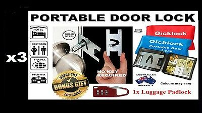 Temporary Security Lock x3 No Key Required Made of Steel Credit card size +Bonus