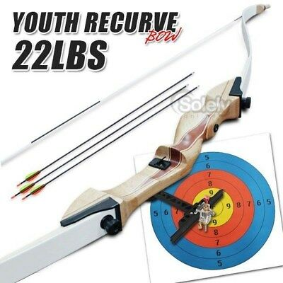 22 lbs Youth Recurve Bow Archery Shooting Wooden Handle Hunting Outdoor Sport