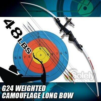 New 48lbs Longbow Long Bow Archery Fiberglass Limbs G24 Weight Nylon Shooting