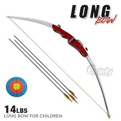 14 lbs Long Bow Archery Longbow 3 Fiberglas Arrows Shooting Hunting Kid Training