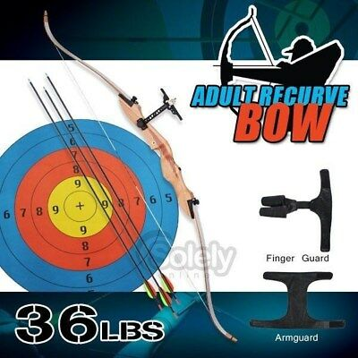 New 36lbs Adult Recurve Bow Archery Shooting Wooden Handle Armguard Finger Guard