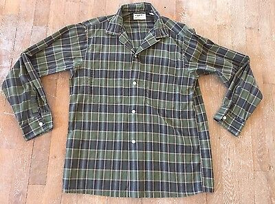 Vtg 50s Arrow Sanforized Cotton Plaid Mens Shirt sz M 100% Loop Collar