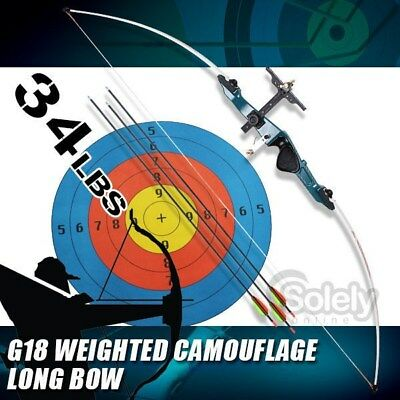 New Professional G18 34 lbs Long Bow Archery Longbow Shooting Draw Length 30""