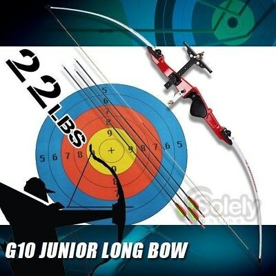 22 lbs Junior Long Bow Archery Train 3 Arrows Fiberglass Limbs Shooting Hunting