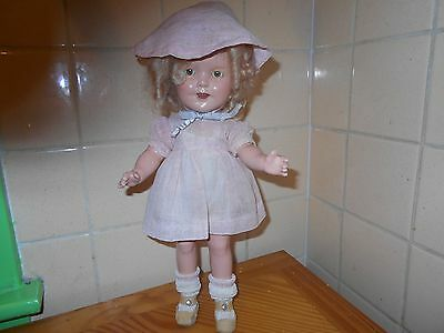 """13"""" Composition Shirley Temple Doll Rare 1934 Now & Forever Dress"""