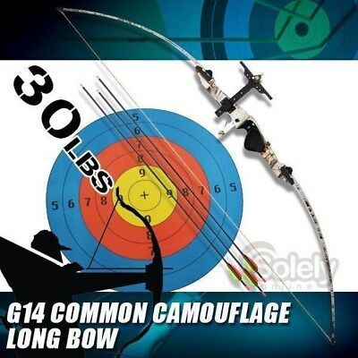 New 30 lbs Long Bow Archery 3 Arrows Fiberglass Longbow Limbs Common Camouflage