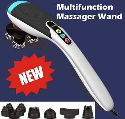 FOUR HEAD HandHeld Massager with 3 Set Attachments Full Body Infrared Massage