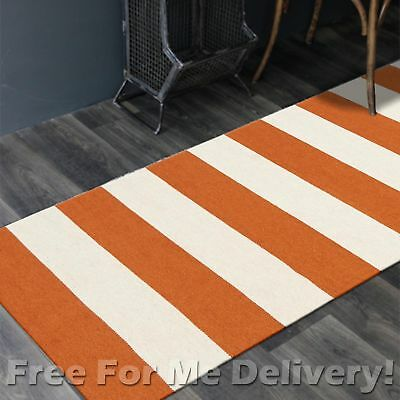BAILEY WOOL ORANGE STRIPES WOVEN KILIM DHURRIE RUNNER 80x300cm **FREE DELIVERY**
