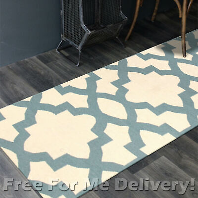 BAILEY WOOL BLUE TRELLIS WOVEN KILIM DHURRIE RUNNER 80x300cm **FREE DELIVERY**