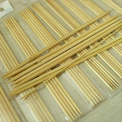 55Pcs 5'' 11 Sizes Double Pointed Carbonized Bamboo Knitting Weaving Needles