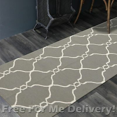 BAILEY WOOL GREY TRELLIS WOVEN KILIM DHURRIE RUNNER 80x400cm **FREE DELIVERY**