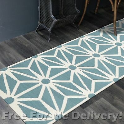 BAILEY WOOL BLUE STARS GEO WOVEN KILIM DHURRIE RUNNER 80x400cm **FREE DELIVERY**