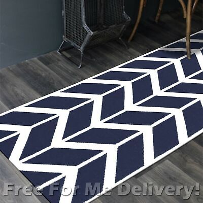 BAILEY WOOL NAVY ZIG-ZAG WOVEN KILIM DHURRIE RUNNER 80x400cm **FREE DELIVERY**