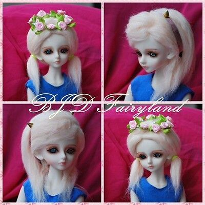 "BJD 7-8"" 7-8inch 18-19cm BJD doll wig pink 1# wig for 1/4 SD Dollfie antiskid"