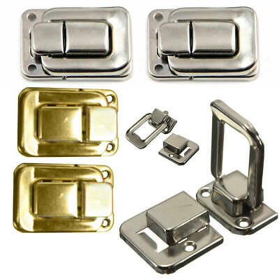 4 Silver/Gold Fastener Toggle Lock Latch Catch For Suitcase Case Box Chest Trunk