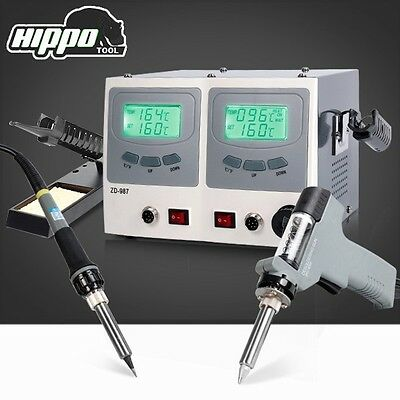 HIPPO Digital Soldering Desoldering Station 2in1 Dual LCD Display Screen Vacuum
