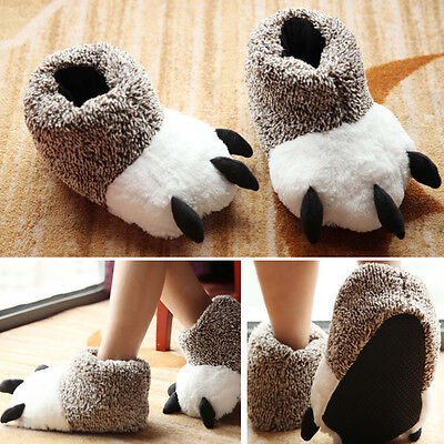 Unisex Mens Womens Lovely Bear Claws Shaped Non-slip Slippers Winter Warm Shoes
