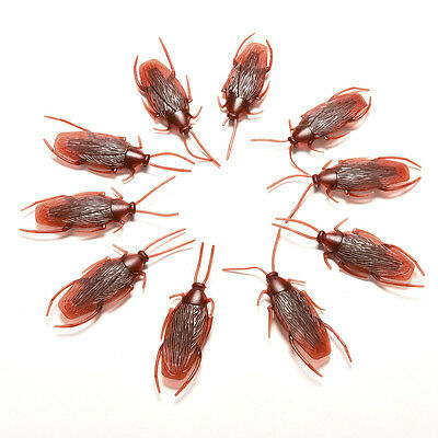 For Payty 10pcs Brown Plastic  Model Fake Cockroach Roach Toy funny trick FT