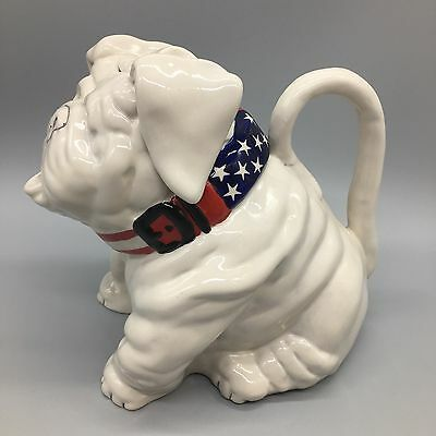 Blue Sky Clayworks American Bulldog Teapot Dog Hand Painted Decorative Art NEW