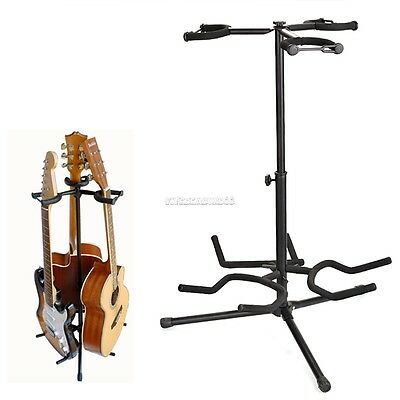 Musician's Triple Guitar Stand Holds 3 Electric Bass or Acoustic Guitars Storage