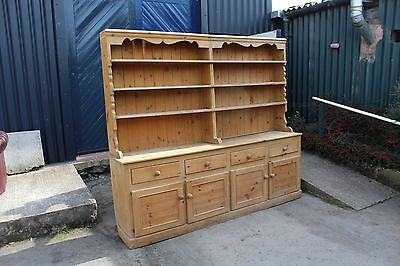 Large Country Farmhouse Pine dresser with large plate rack and storage. 1960's