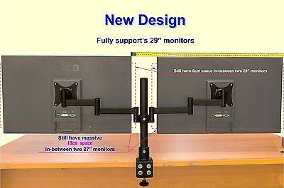 """2 Screens 13-29"""" Dual Twin LCD LED Monitor Desk Stand Mount Arm Clamp Adjustable"""