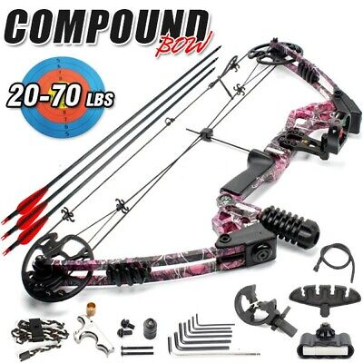 20-70lbs Magnesium Alloy Adult Red Camo Compound Bow Archery Left Handed Hunting