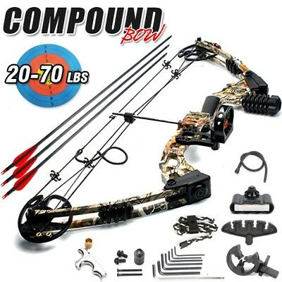 New 20-70lbs Magnesium Alloy Adjustable Camo Left Handed Compound Bow Hunting