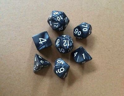 7 pcs opaque Black bar polyhedral BRPG games Dices with White Pip Die
