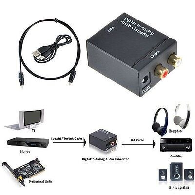 Digital Optical Coaxial Toslink Signal to Analog Audio Converter Adapter RCA Z1